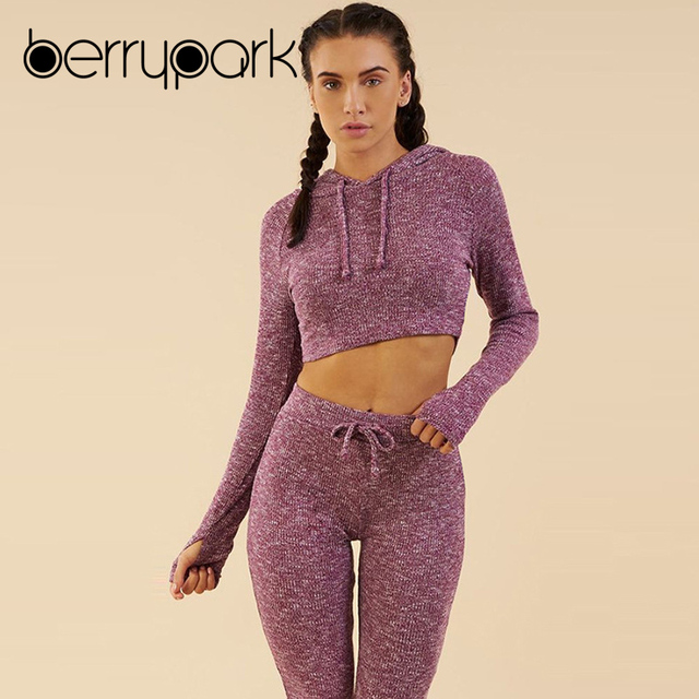 BerryPark Knitted Tracksuit Women Casual 2 Pieces Sets Long Sleeve Ribbed Crop Tops Hoodies and Calf Length Pants Sweat Suits 3