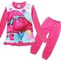 2017 Duendes Niñas Pijama Establece Niñas de Manga Larga ropa de la Historieta Niños Homewear Ropa de Dormir Ropa Conjuntos Para Niños Niños Traje de Ropa Interior