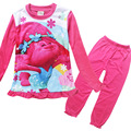 2017 Trolls Girls Pajamas Sets Girls Long Sleeve Cartoon clothes Children Sleepwear Homewear Clothing Sets Robe Kids Underwear