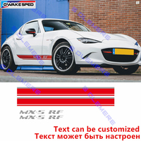 OwakeSped Sport Styling Stripes Car Door Side Skirt Stripes Auto Body Decor Vinyl Decal For Mazda MX 5