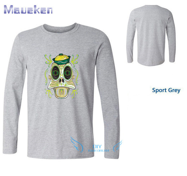 03a0d0fc3a8e55 University of Oregon Duck Sugar Skull long sleeve T-Shirt 100% cotton ls T  Shirts Men for fans 1107-3