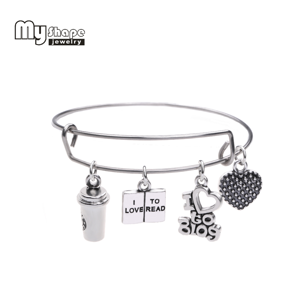 my shape Coffee Cup Bracelet I Love to Blog and Read Charms Stainless Steel Expandable Wire Bangle Handmade DIY Jewelry Gift image