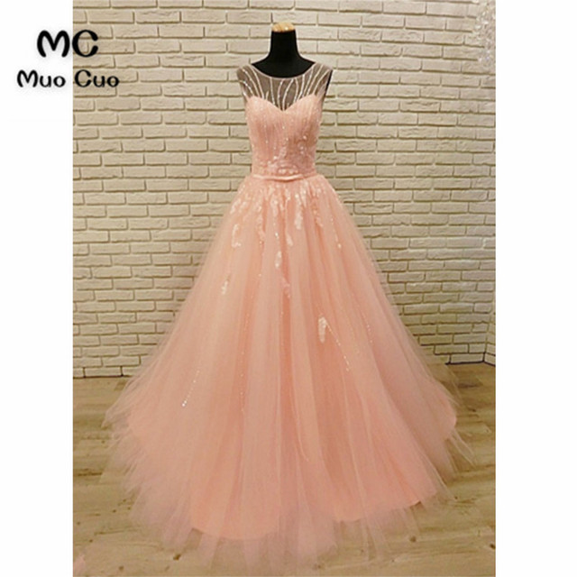 New 2018 Blush Pink Evening Dress Prom Dresses Long with Beaded ...