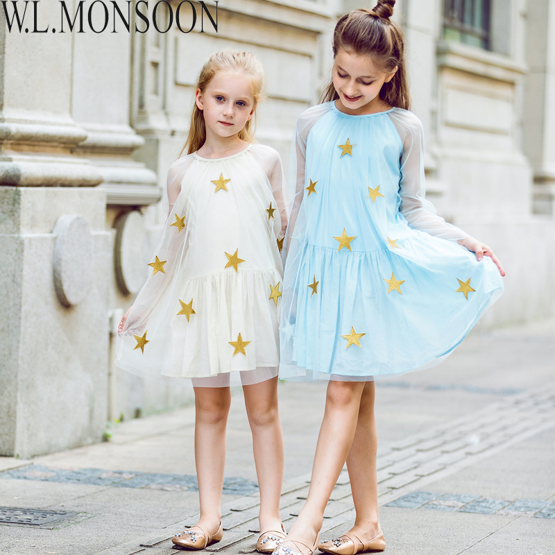 W.L.MONSOON Kids Wedding Dresses Girls Party Dress Children Clothes 2017 Brand  Star Embroidery Lace Mesh Princess Dress