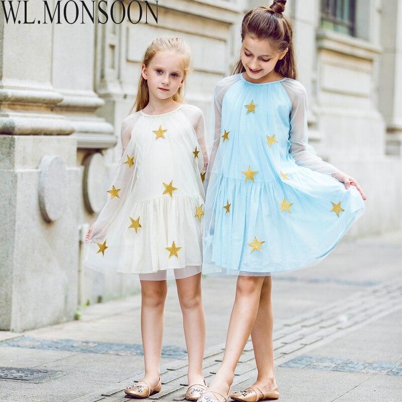 W. L. MONZÓN Niños Vestidos de Novia de Partido de Las Muchachas Vestido de Los Niños Ropa 2017 de la Marca Estrella Bordado de Malla de Encaje Princesa vestido