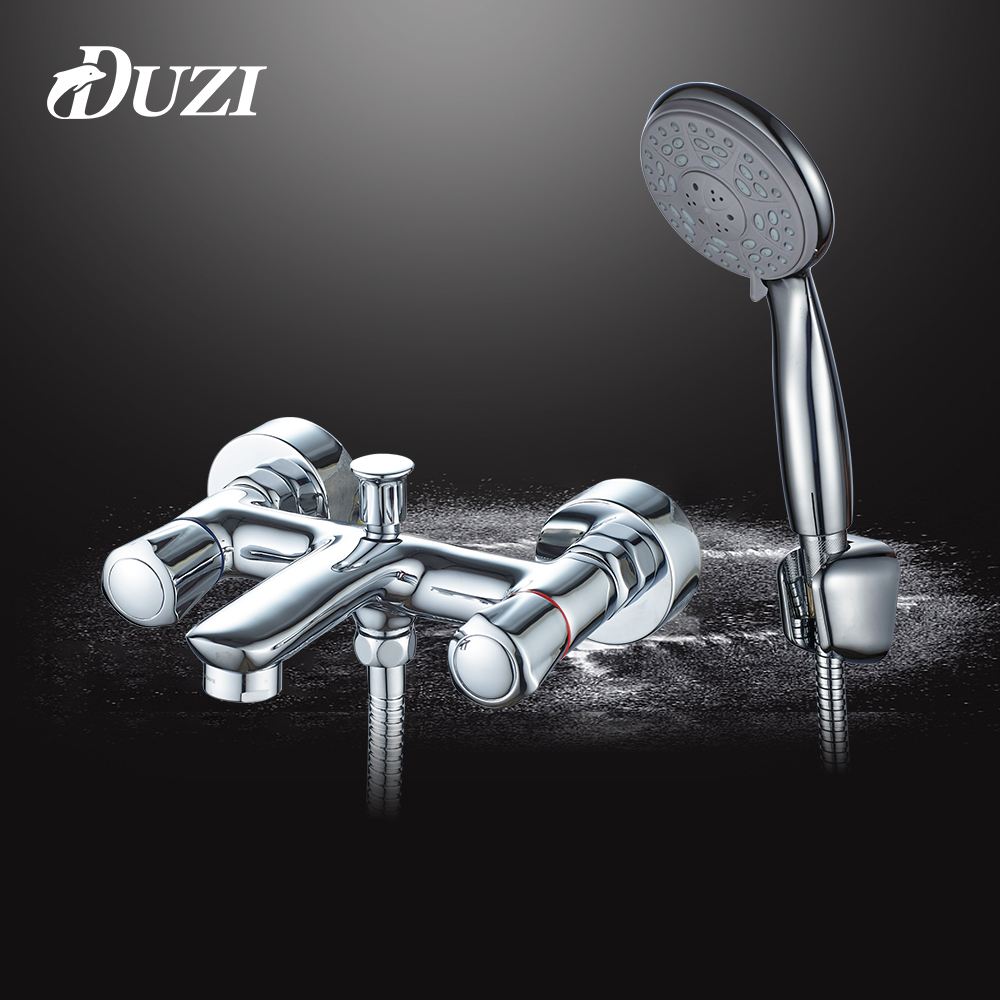 DUZI Wall Mounted Bathroom Faucet Dual Handles With Hand Shower Cold and Hot Bath Tub Mixer Tap Chrome Shower Faucet Sets D6108 china sanitary ware chrome wall mount thermostatic water tap water saver thermostatic shower faucet