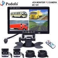 Podofo 7 Car Мониторы 4 Разделение Quad + 4xir Ночное Видение заднего вида Камера Водонепроницаемый для car/грузовик/ автобус/RV/Прицепы Reverseing Камера