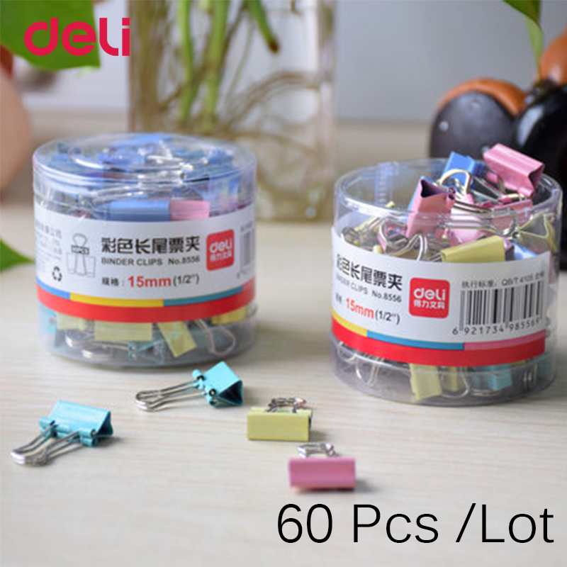 Deli 60 Pcs 15 mm Common mini Cute Binder Clips Metal Cute Paper Stationary Office Material School Supplies Cute Binder Clips deli binder clip 8552 four colors wallet file document paper note memo clips 24 pcs a pack office supplies stationery