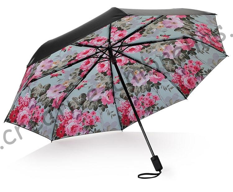 Umbrellas Obedient 2pcs/lot Colour Options Fiberglass Windproof 5 Times Black Coating Anti-uv Parasol Pocket Folding Peony Flowers Print Umbrella Rain Gear