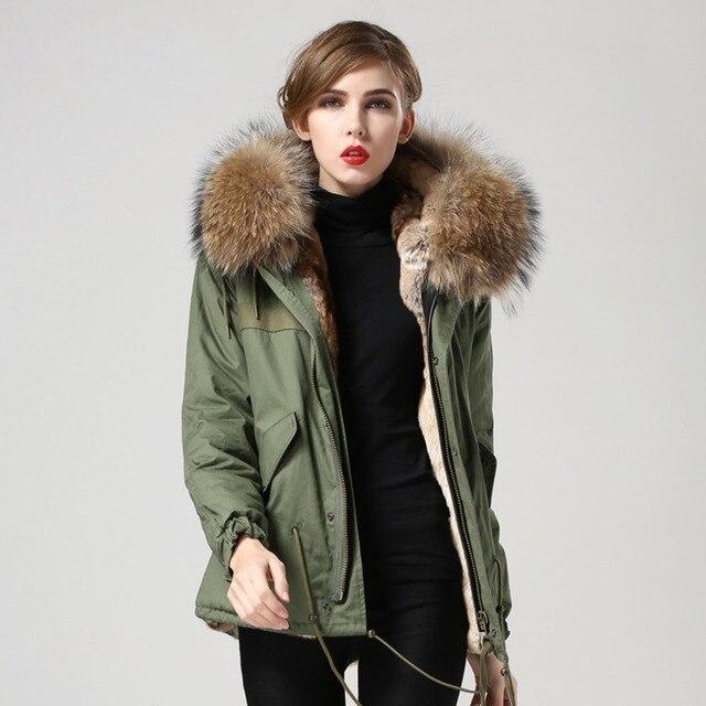 1279a2f7650 Fur Story 151286 Hot Sale Parkas For Women Winter Warm Army Green Coat Big Fur  Hoodie Real Rabbit Fur lining Jacket