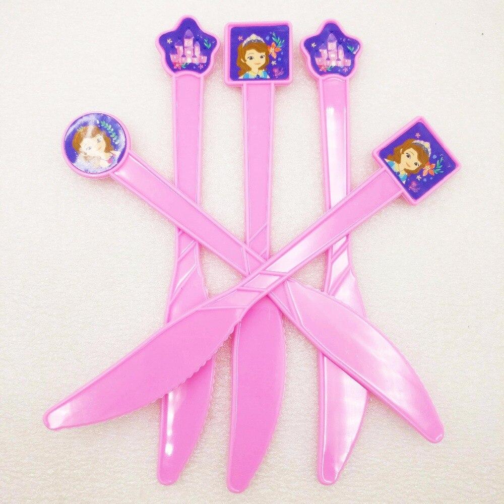 6pcs/bag Sofia Party Supplies Kids Disposable Plastic Knife