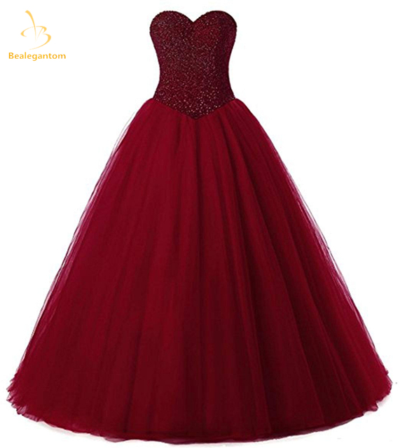 625d77f4685 Bealegantom 2018 New Wine Red Ball Gown Quinceanera Dresses Beaded Lace Up  Debutante Sweet 16 Dress Vestidos De 15 Anos QA1546