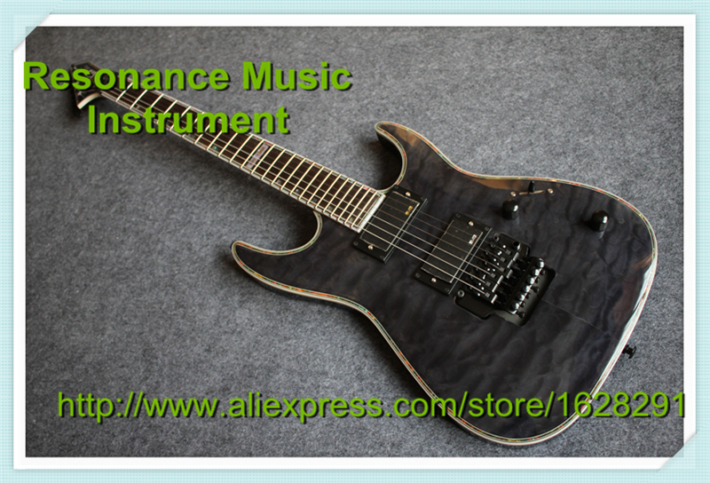 Wholesale & Retail Musical Instrument Grey Quilted ESP Deluxe LTD MH-1000 Electric Guitar with Floyd Rose Tremolo hot selling china quilted finish musicman ax 40 electric guitar with chrome floyd rose tremolo for sale
