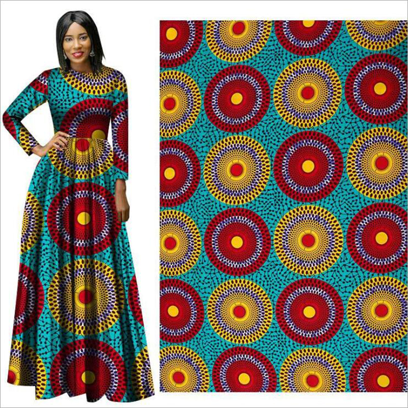 Me-dusa 2019 new Colored ring African Print Wax Fabric 100% cotton Hollandais Wax Dress Suit cloth 6yards/pcs High quility(China)