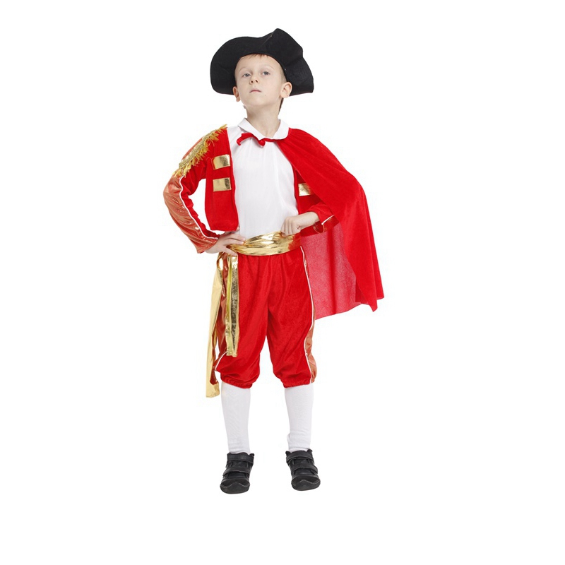 Free shipping childen kids halloween Spanish bullfighter cosplay costume matador clothes Boys Stage Performance costumes
