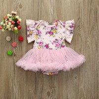0-24 M Bebek Çocuk Kız Elbise Bebek Çiçek Dantel Tutu Kolsuz Prenses Kıyafetler Yürümeye Başlayan Tulum Romper Elbise Parti Newbron BFOF