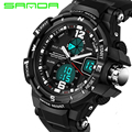 SANDA Brand Waterproof Shock Resistant Mens PU Strap Sport Quartz Watch Led Digital Army Military G Style Wristwatches Gift Box