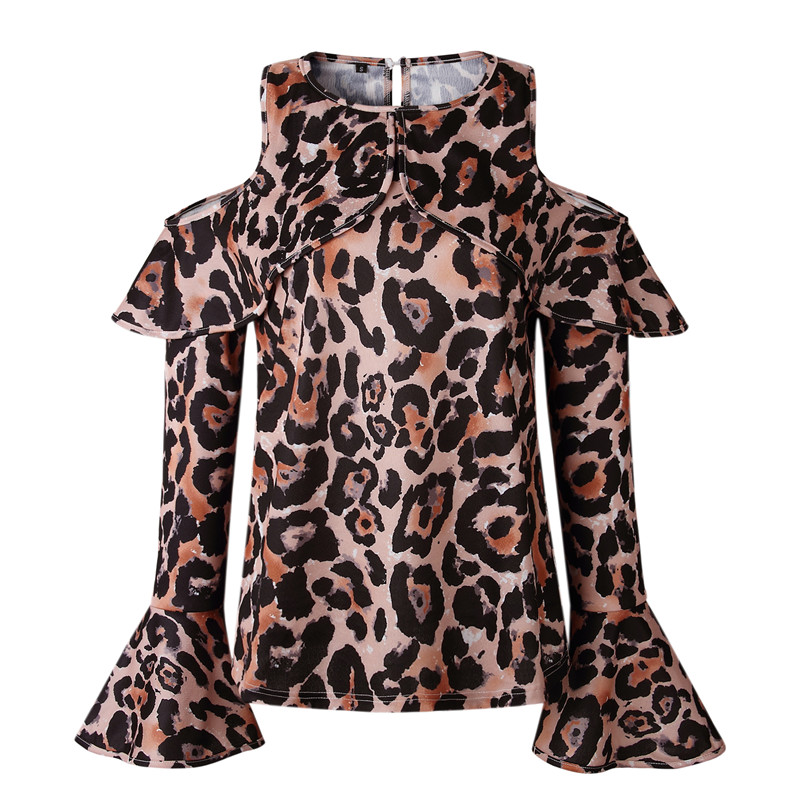 ab4a0cd62eee Off Shoulder Leopard Blouse Women Autumn Winter 2018 Fashion Long Flare Sleeve  Chiffon Blouse Shirt Ruffles Casual Ladies Tops -in Blouses & Shirts from  ...