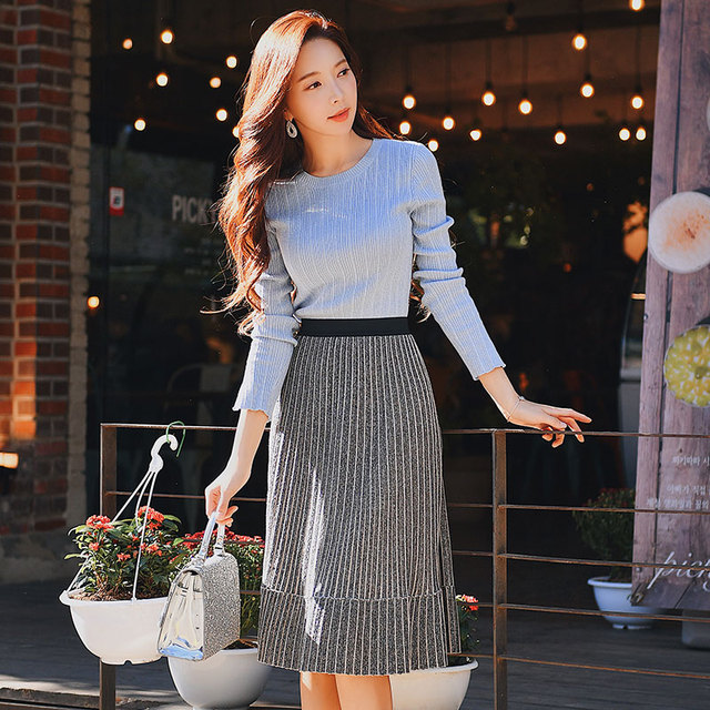 Dabuwawa Knitted Casual Vintage Skirt New Women Fashion Elegant Mid-length Pleated Skirts 2019 #DN1ASK003