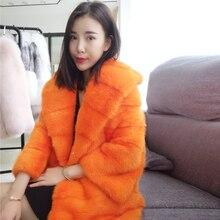 WANGZONGSHUN001 Mink Fur Coat Orange Color Women Long Sable Parka Luxury Custom Fur Outerwear