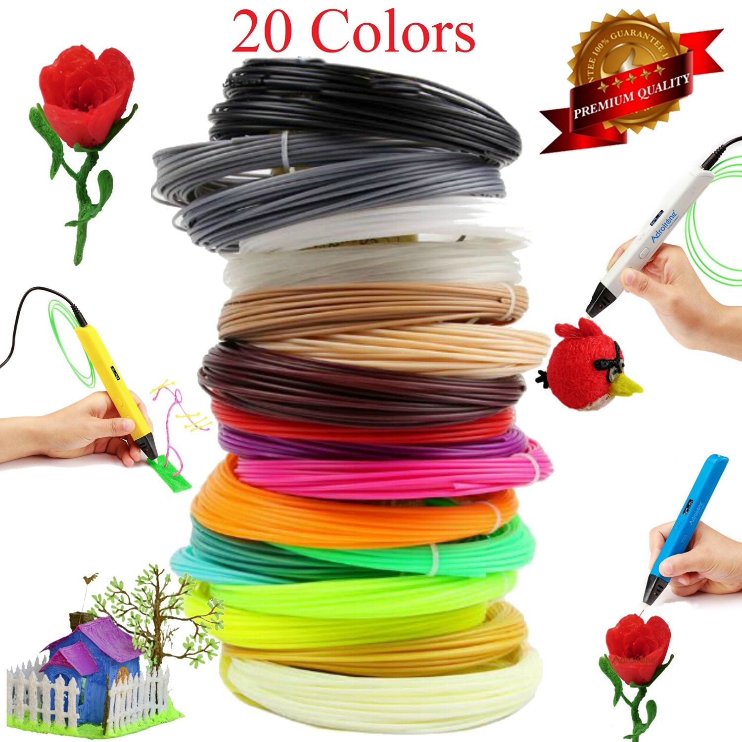3 d Printing Pen Consumable Environmental Protection Non-toxic PLA HIPS1.75mm 3D Magic Pen Filament Refills - 20 Colors 1 75mm pla 3d printer filament printing refills 10m