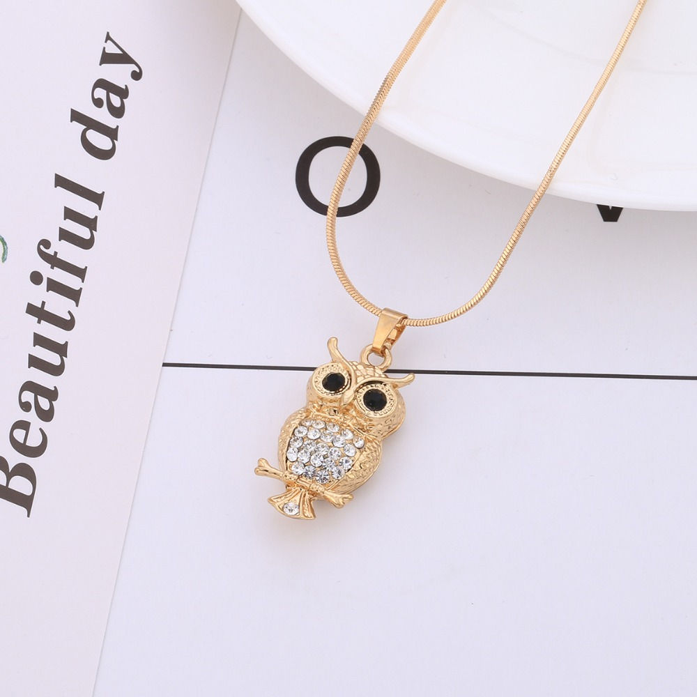 TIDOO Jewelry 24 Inch Owl Necklace Copper CZ Animal Necklace Pendant Jewelry for Women and Men