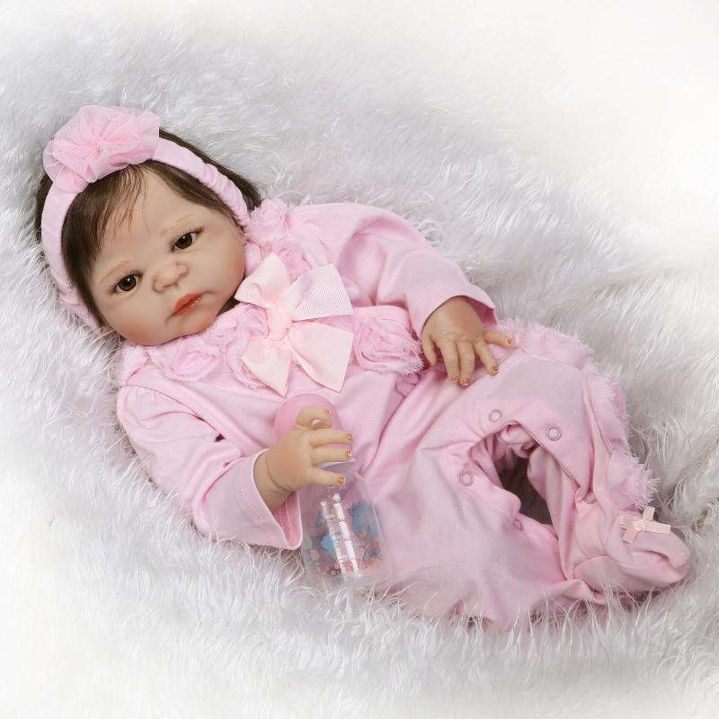 new design soft silicone reborn baby dolls waterproof 55 cm 22 inch Mini doll NPKDOLL Full Vinyl Handcraft Birthday Gifts Model