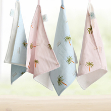 Fashion Baby Mouth Towel Pure Cotton Double Gauze Soft Skin Care Square Flower Pattern Lovely Blue Pink