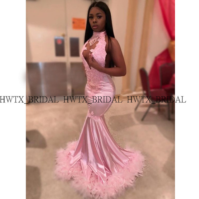 African Black Girls Pink Feathers Prom Dresses 2019 Plunging Necklines Backless Sexy Mermaid Long Prom Dress 2K19 Formal Gown 3