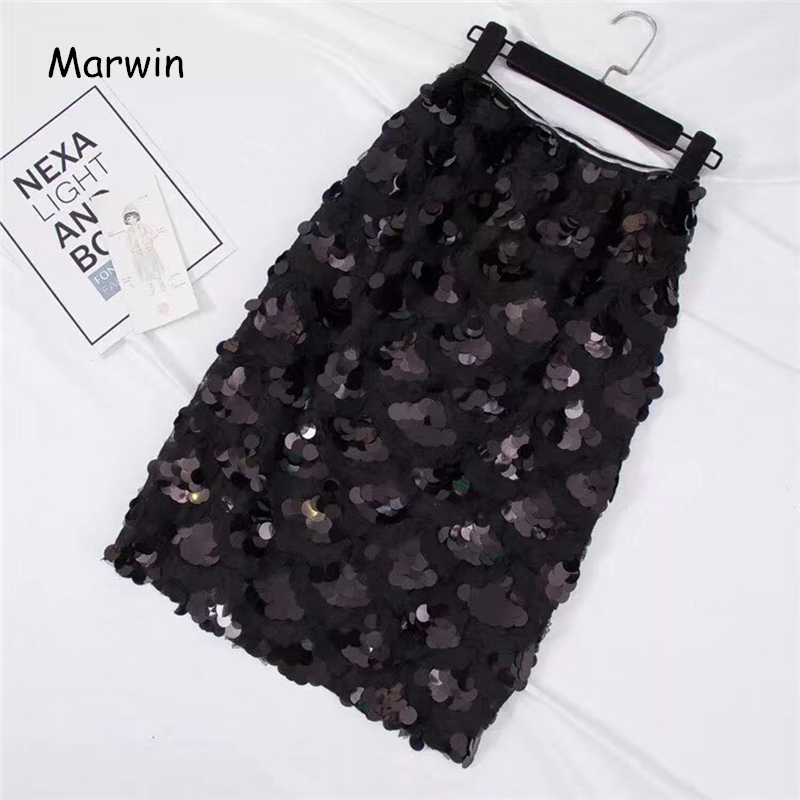 Marwin 2018 New-Coming Sequins Skirts Autumn Winter Fashion Beading Knee-Length Empire Sexy Club Christmas Skirts G