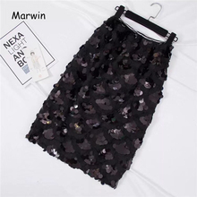 Marwin 2018 New Coming Sequins Skirts Autumn Winter Fashion Beading Knee Length Empire Sexy Club Christmas Skirts G