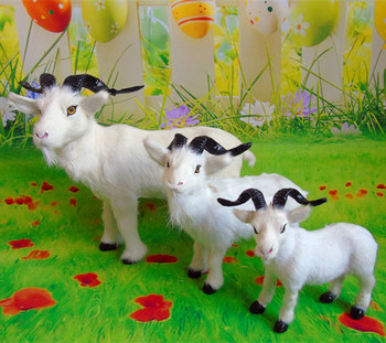 simulation sheep model polyethylene&fur white goat prop  one lot/3 pcs,handicraft home decoration gift b1725