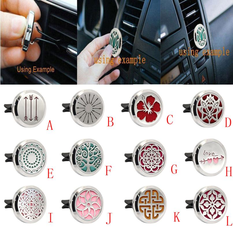 Fragrance Non-toxic Stainless Car Air Auto Vent Freshener Essential Oil Diffuser Gift Locket Decor Stainless Tree Of Life Air Freshener