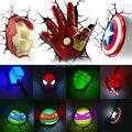 2016 Ironman Spiderman Capitão América em 3D Decoração Do Quarto Do Bebê luz Da Noite Luz Lâmpada de Parede Incrível Lampada deparede Xmas Gift