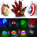 2016 Ironman Spiderman Captain America 3D Wall Lamp Amazing Baby Room light Decoration Night Light Lampada deparede Xmas Gift