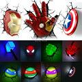 Ironman Spiderman Captain America 3D Wall Lamp Amazing Baby Room light Decoration Night Light Lampada deparede Xmas Gift