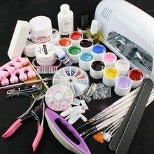 Vip Beauty Shop 9w Uv Gel Lamp + Nail Art Uv Gel Kit Decoration File Brushes Glitter Full Set