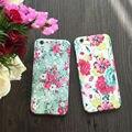 Vintage floral colorido tampa traseira 360 grau completa proteja phone case com vidro temperado para o iphone 5,6, 6 s, 6 além disso, 7,7 mais
