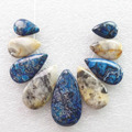 9 pçs/set 36x19x6mm-18x12x5mm Louca Do Laço Ágata Teardrop Pendant Bead R7696