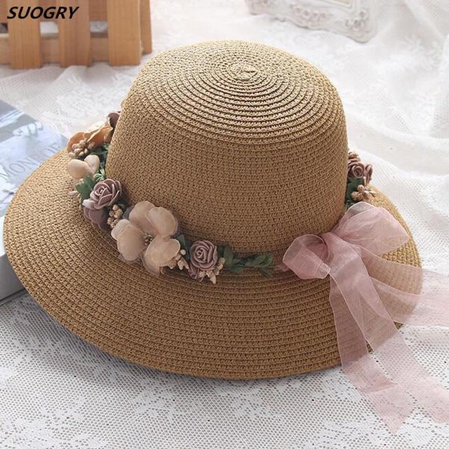 3a715b317d6 2018 New Garland Beach Hats Korea Style Solid Women Summer Sun Hats Packable  Wide Brim Panama Bucket Hat Ladies Straw Hat