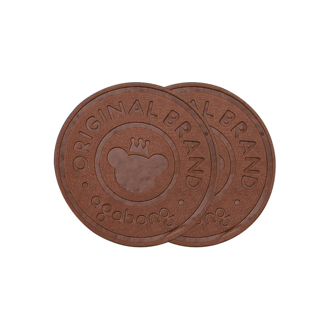 custom Cream Personalised Faux Leather Tags Circle Round 25mm Product tags