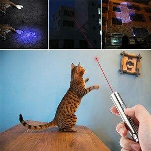 Image 2 - 3 で 1 レーザーポインター led 懐中電灯猫のペットトレーニングツール usb 充電式 uv フラッシュランプ led フラッシュライトミニランテルナランプ