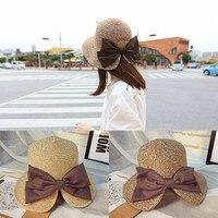Women Girls Foldable Wide Brim Roll Up Crocheted Straw Hat Beach Sun Visor Cap For Holiday
