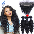Alicrown Hair Deep Wave With Frontal Brazilian Virgin Hair 3 Bundle With Closure Frontal Deep Wave Brazilian Hair With Closure