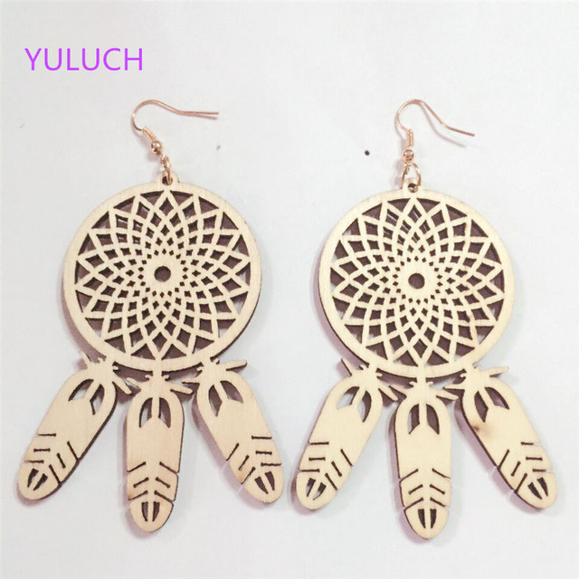 Pair Latest Design Unfinished Tel Hollow Wood Jewelry Earring Personality African Earrings