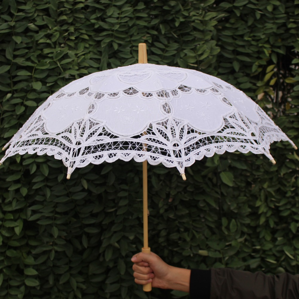 Us 13 45 50 Off Yo Cho Bride Wedding Umbrella Cotton Parasol Lace Umbrella Handmade Embroidery Beaching Wedding Photo Prop Decoration In Bridal
