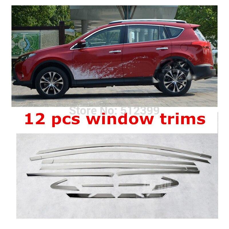 Из нержавеющей стали 12 шт верхнем окне наличники декоративные крышки для Тойота RAV4 2013 2014 2015 2016 стайлинга автомобилей аксессуары