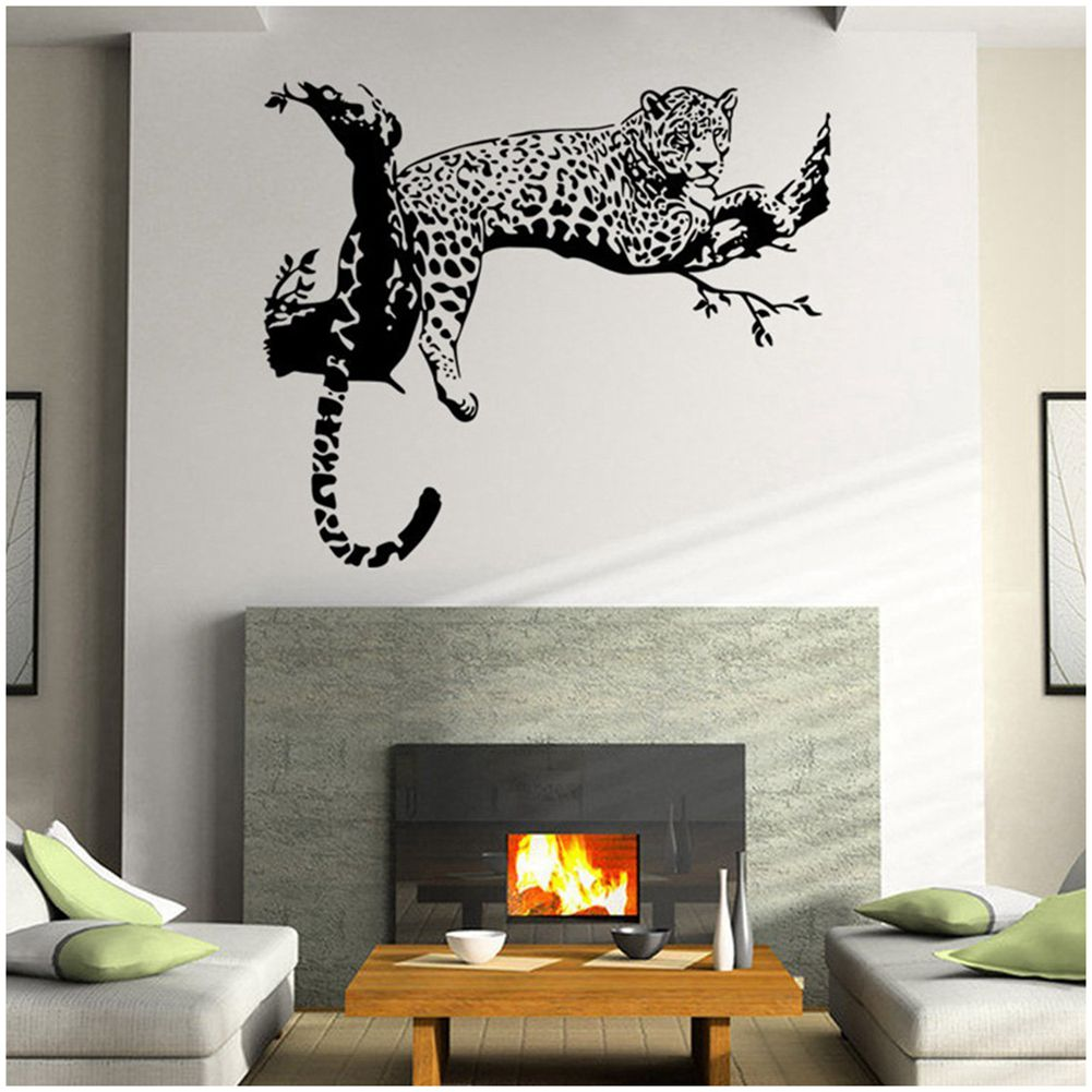 Cheetah bedroom decor - Pvc Animal Wild Zoo Removable Cheetahs Wall Sticker Home Decor Living Bedroom For Kid S Room Black