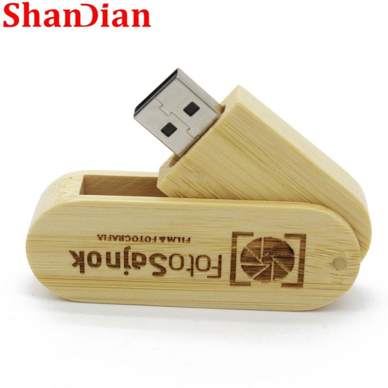 Swivel Wooden USB 2.0 Flash Drive Customized Logo Wedding Film Studio Pendrive