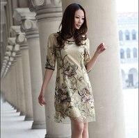 Pure silk dresses women 2015 summer half sleeve embroidery 50s vintage dress elegant 6xl plus size women A 0119